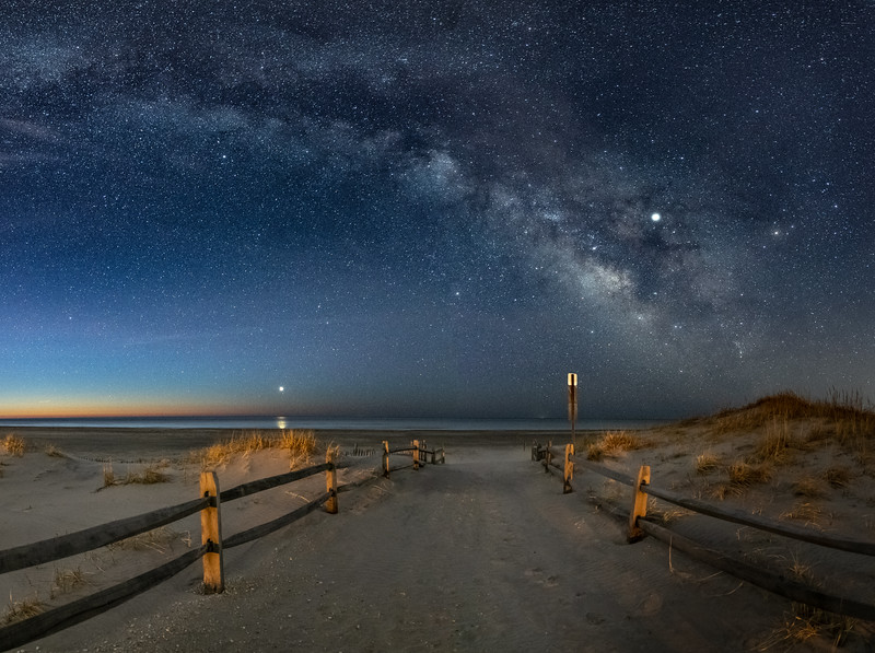 The Milky Way Arching Over Beach Pathway in Avalon 3/13/19