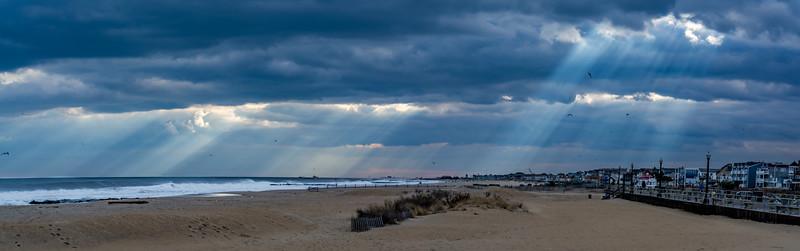 Sunrays Through the Clouds Panorama Over Ocean Grove, NJ