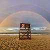 Double Rainbow Over Lifeguard Chair on Ocean Grove Beach 7/1/17