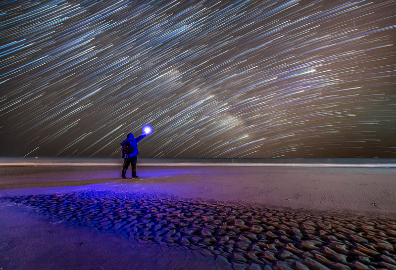 Star Trails Over The Rippled Beach in Avalon, NJ