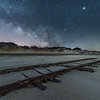 "The Milky Way Rising Over The ""Ghost Tracks"" Railroad on Cape May Beach 3/17/18"