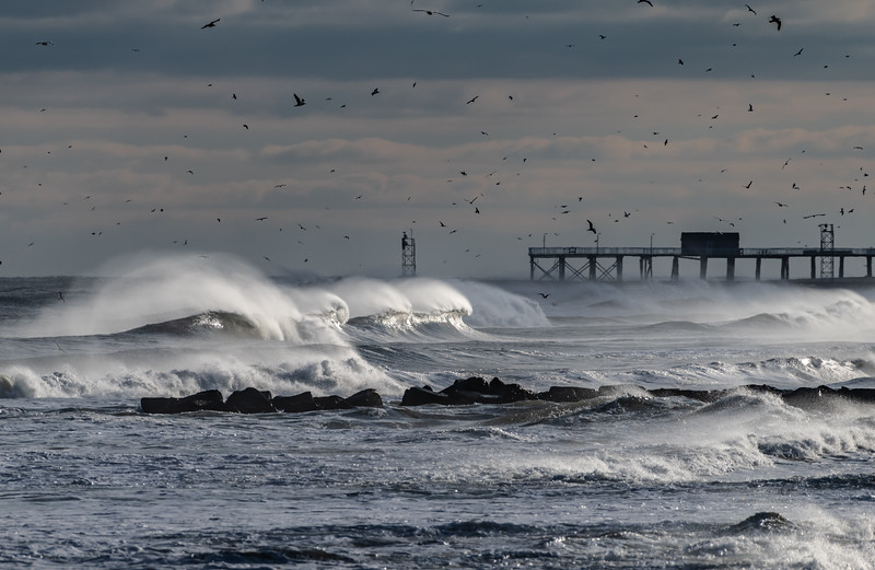 Rough Seas and Strong Wind Over Belmar Pier 1/20/19