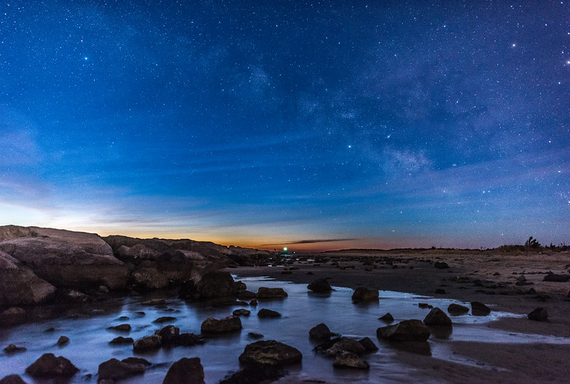 The Milky Way Fading Into Predawn Colors Over The Barnegat Jetty and Beach 2/17/18