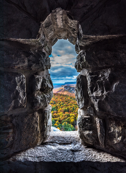 Autumn Colors Through Stone Window in Upstate New York 10/24/16