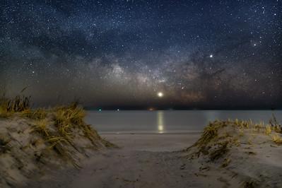 The Milky Way With Venus & Jupiter Rising Over The Beach Dunes In Barnegat Light, NJ 2/10/19