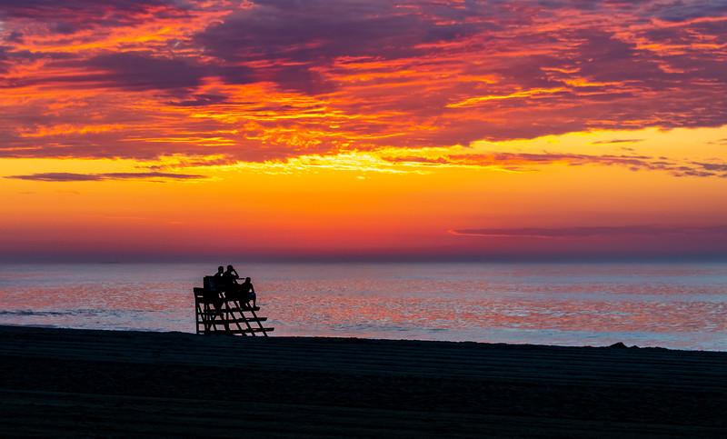 Predawn Colors Over A Lifeguard Stand On Ocean Grove Beach 6/28/20