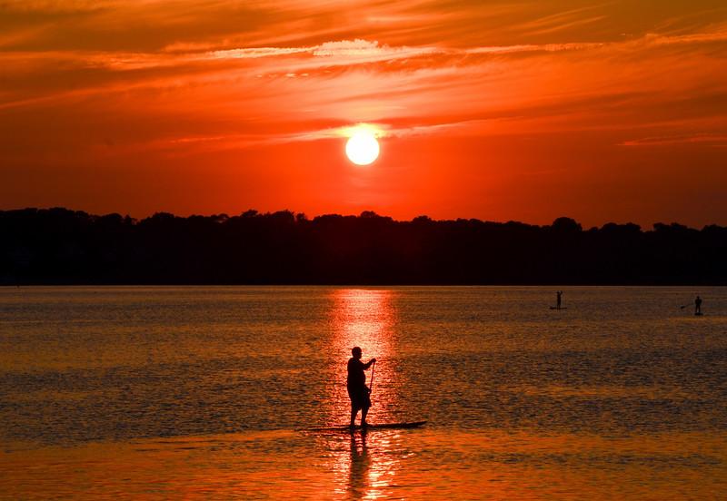 Paddleboarder at Sunset on Shark River, Belmar, NJ
