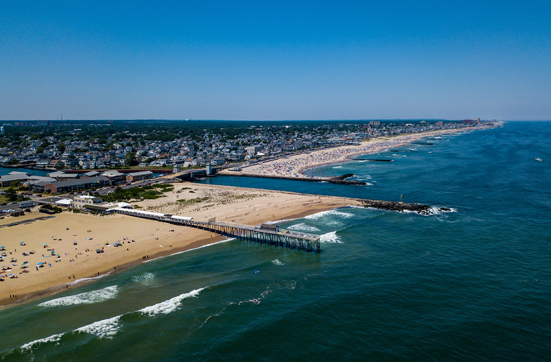 Perfect Beach Day Over Shark River Inlet and Belmar, Jersey Shore 6/30/18