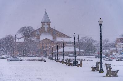 Snowy Scene at Great Auditorium in Ocean Grove 3/13/18