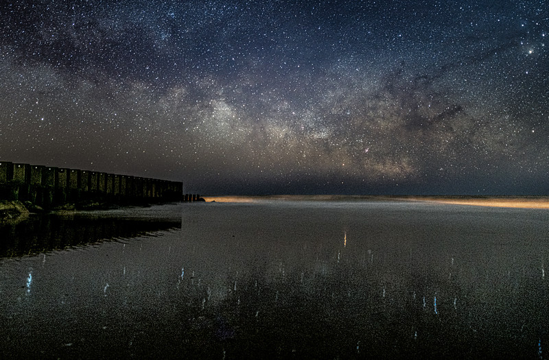 The Milky Way Reflecting In Wet Sand At Old Wooden Jetty In Holgate, Long Beach Island 2/23/20