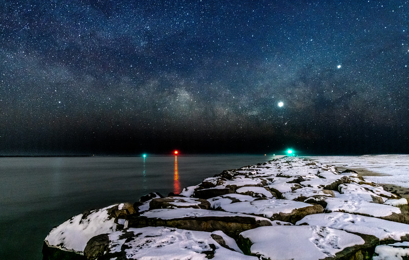The Milky Way Rising Over Snow-Covered Rock Jetty at Barnegat Light 2/3/19