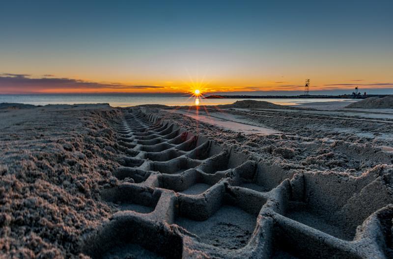 Sunrise Over Tire Tracks on Avon-By-The-Sea Beach 1/28/17