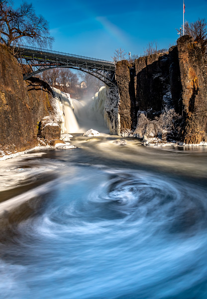 Frozen Paterson Falls With Faint Rainbow And Ice Swirling in Water 2/2/19