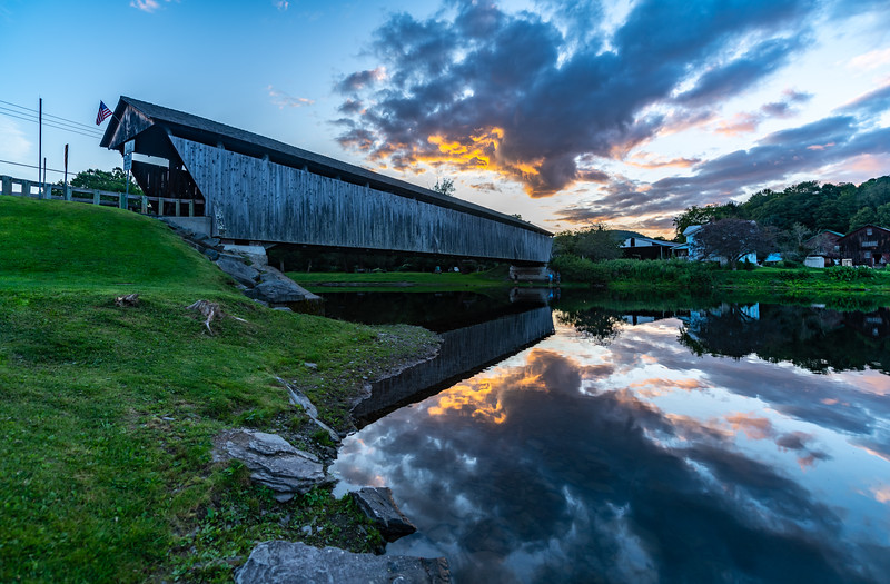 Sunset Over Downsville Covered Bridge 8/23/19