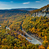 An Aerial View Of A Hairpin Turn & Rocky Cliffs Surrounded By Autumn Colors In Mohonk Preserve 10/22/20