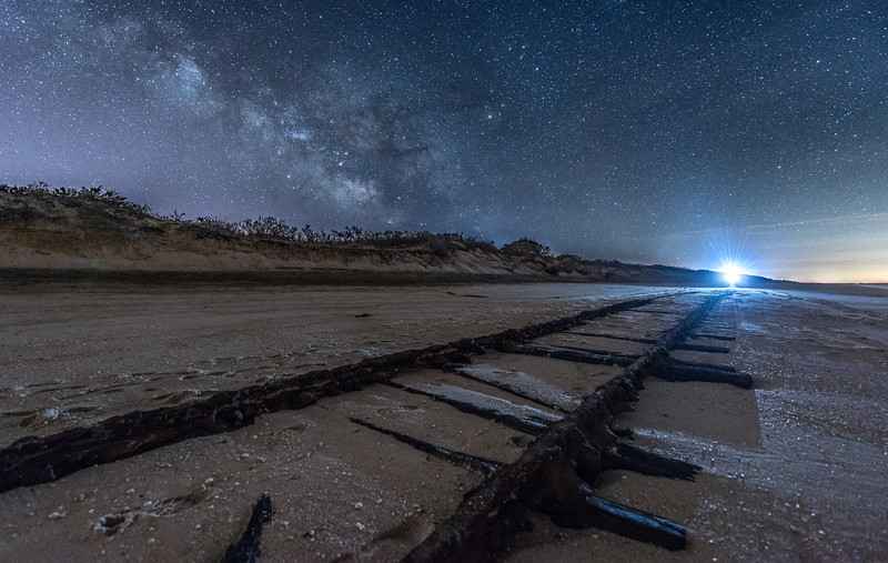 """The Milky Way Rising Over """"Ghost Tracks"""" Railroad on Cape May Beach 3/17/18"""