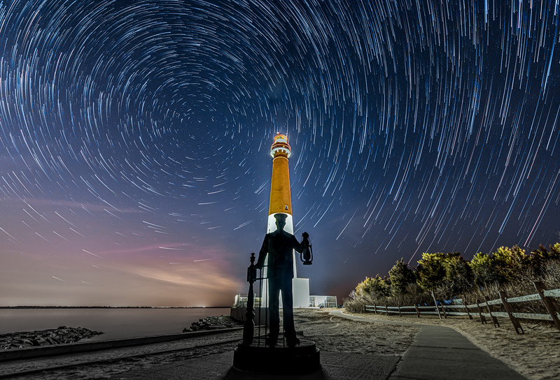 Star Trails Over The Lighthouse Keeper Statue And Barnegat Lighthouse 1/22/20