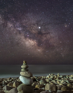 The Milky Way Galactic Core Rising Over A Rock Cairn On A Rocky Beach in Montauk, NY 5/7/19