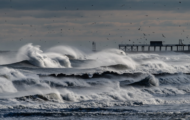 Rough Seas and Strong Winds Over Belmar Pier 1/20/19