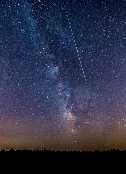 A Perseid Meteor Streaking Next to the Milky Way Galaxy, Jackson, NJ