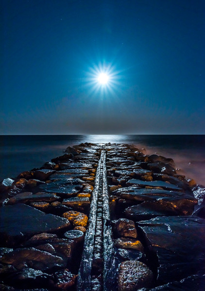 Full Blue Moon Rising Over Asbury Park Jetty 3/31/18