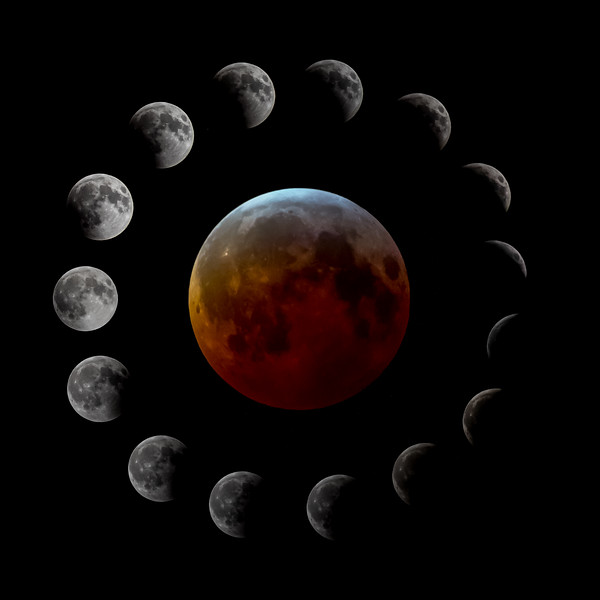 Full Sequence Of Lunar Eclipse Of The Super Wolf Blood Moon Over The Jersey Shore, NJ 01/20/19