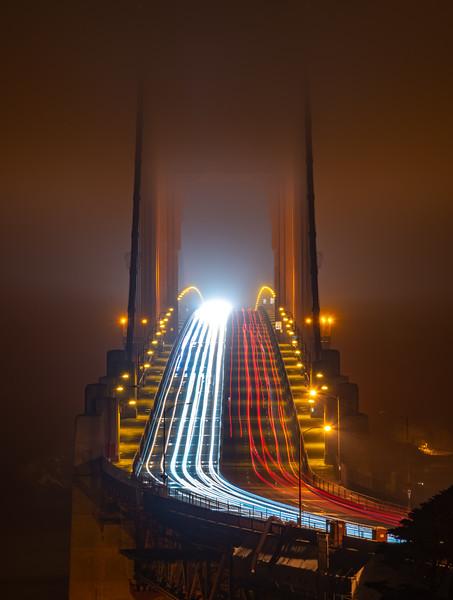 Car Trails On The Golden Gate Bridge, San Francisco, CA 11/6/19