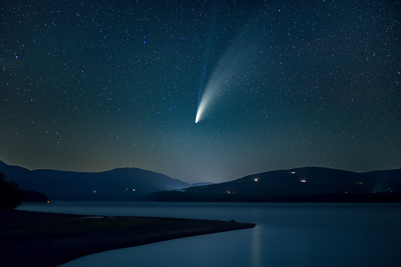 Comet C/2020 F3 NEOWISE Over Lake In The Catskills, NY 7/17/20