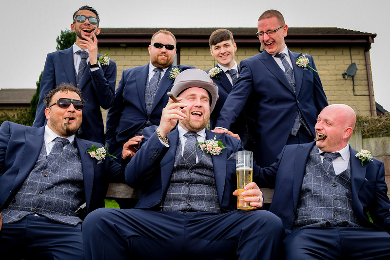 Groom and Ushers with Cigars