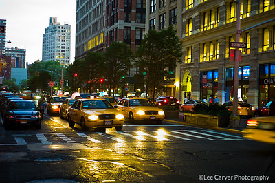 Manhatten Taxis at twilight
