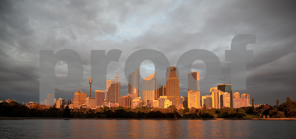 Sydney,  Au glows in the morning sunrise.