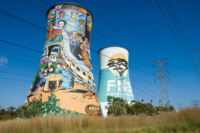 Soweto power plant, South Africa.  An old power plant painted as a mural.