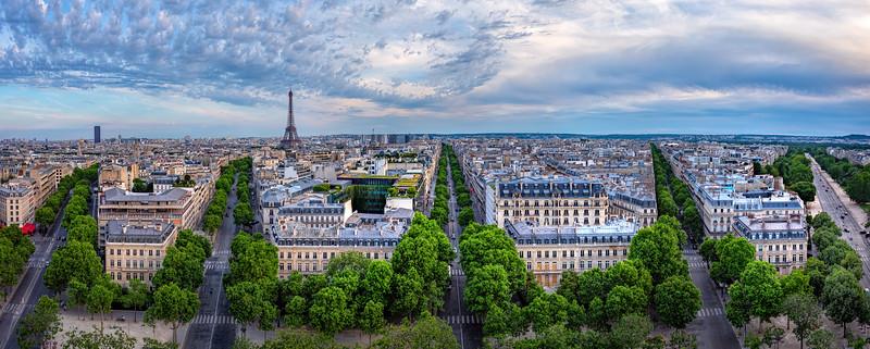 Paris streets, from the Arc de Triomphe, Paris, France (June 2019)