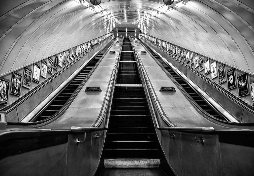 Tube Escalator, Marylebone Station, London (March 2011)