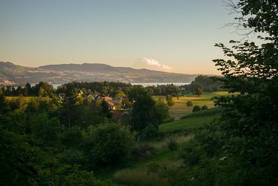 Abendstimmung bei Feldbach mit Blick auf Zürichsee.