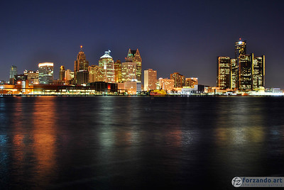 Looking Across the Detroit River to Downtown