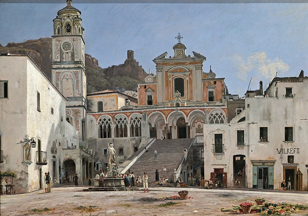 View of the Square in Amalfi (1835) by Martinus Rørbye