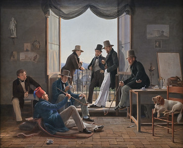 A Group of Danish Artists in Rome (1837) by Constantin Hansen
