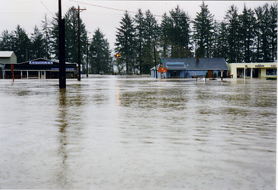 The Highway 101 corner in Nehalem, February 1996. This photo taken from a canoe in the water from the corner near the lumberyard on the highway.