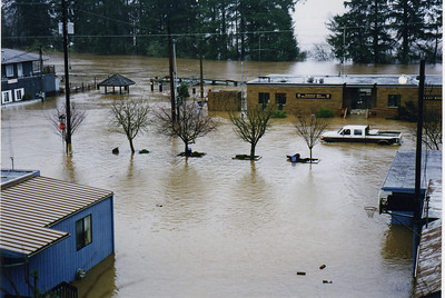 The truck is on the road in front of the Wastewater agency in Nehalem in February, 1996.