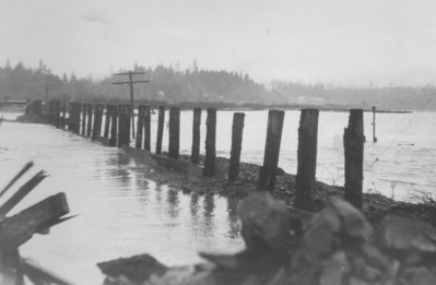 Water from the 1934 flood washed out the dike road between Nehalem and Wheeler.
