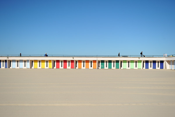 Colourful beach cabins