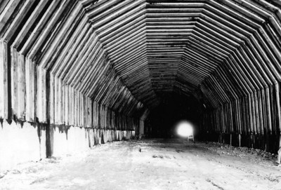 Bracing the tunnel required thousands of timbers.