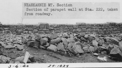 The roadway along Neahkahnie included a wall built mostly of rock blasted from the side of the cliff.