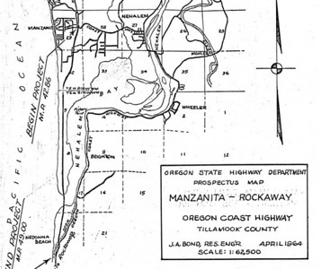 Original plans for the coast highway called for following the Nehalem spit, bridging the bay at its south end, and continuing through Nedonna Beach on to Rockaway. The highway department abandoned this plan after public outcry killed a similar plan along the spit south from Pacific City.