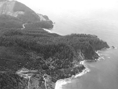 Dense forests on Cape Falcon posed additional challenges to highway construction.
