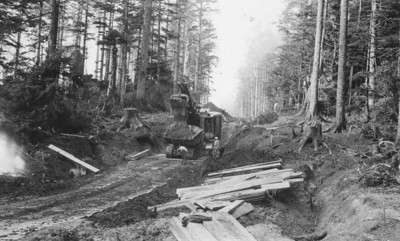 Building roads along the coast required the skills of loggers as well as engineers.