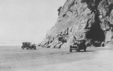 The route around Hug Point and along the beach formed part of the coast highway immortalised by Governor Oswald West.