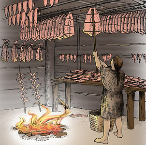 Salmon cured in smoke houses could feed Indians well into the winter.