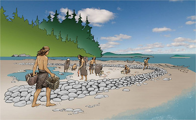 In some places, Indians could trap salmon behind stone walls. An incoming tide would bring fish; an outgoing tide would trap fish behind the wall.
